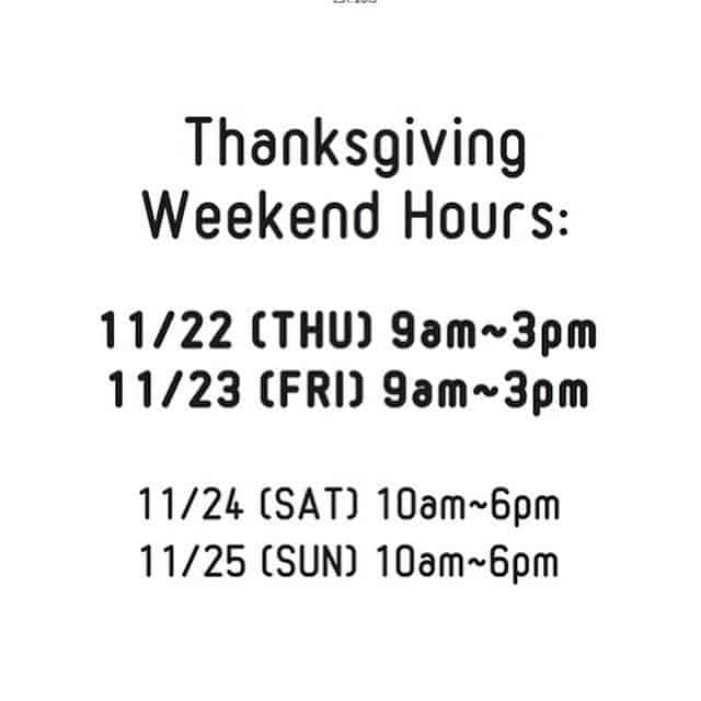Thanksgiving business hours